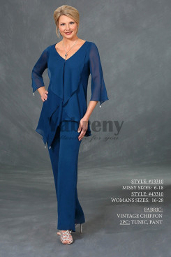 Mother of the bride pant suit three quarter sleeve Royal blue chiffon V-neck outfit mps-061