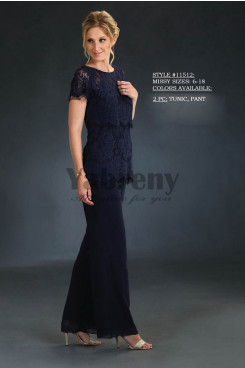 Mother of the bride pant suits Lace top and chiffon trousers mps-064