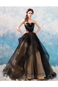 Multilayer A-line prom dress Black Strapless Quinceanera Dresses TSJY-180