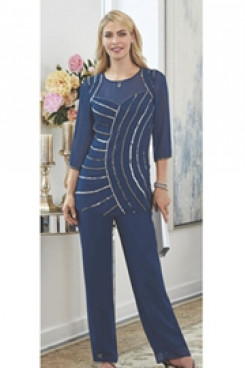 Navy blue Beaded Trouser outfit Elegant Mother of the bride pant suits Chiffon dress Elastic waist mps-089