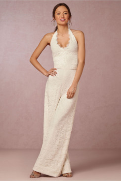 New Arrival bridal wedding dress charming lace halter dress jumpsuit so-150