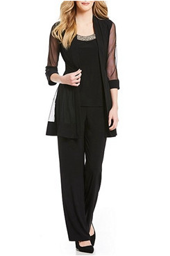 New Arrival Loose 3 Piece Black Half Sleeves Mother Of the bride Pants Suits mps-289-1