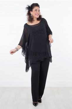 New arrival Mother of the bride pant suits Overlay Top with hand Crystal mps-022