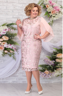 New Arrival Pink Tea-Length Mother of the Groom Dresses Plus Size Women's Dress mps-462-4