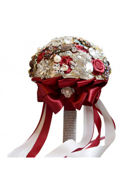 New Arrival Rose Red Elegant Wedding bouquets for bride with Pearls Glass Drill and Crystal
