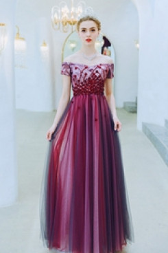 New Arrival Rose Red Prom Dresses Hand Beading Empire Evening Dresses TSJY-130