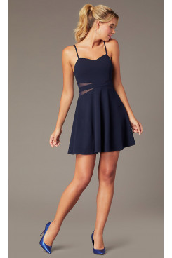 New Arrival Sheer Sides Homecoming Dress, Spaghetti Navy Blue Graduation Prom Dresses sd-047