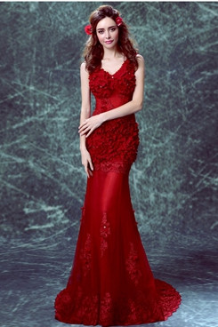 New Arrival Sweetheart Mermaid Prom Dresses Burgundy Brush Train Evening Dresses TSJY-159