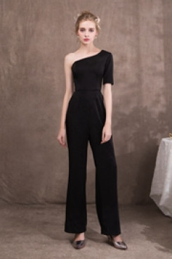 New arrival Women Black One Shoulder Prom dressy Jumpsuit so-044