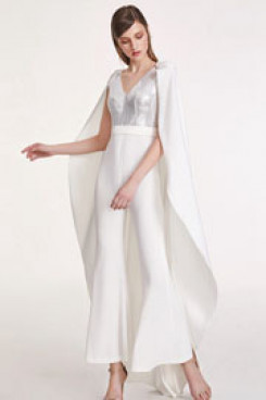 New style Bridal jumpsuit with detachable Poncho Women Trousers so-158