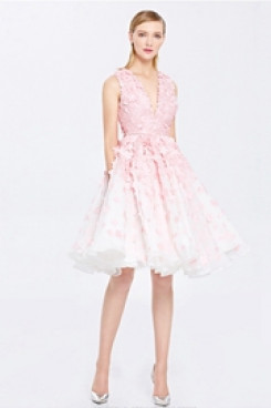 New style Pink Handmade Flower Homecoming Dresses cyh-018