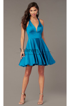 Ocean Blue Under $100 V-neck Homecoming Party Dress,Above Knee Dreses with Pockets sd-014-1