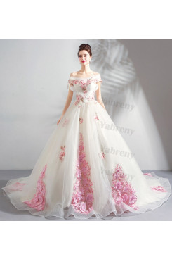 Off the Shoulder Princess Quinceanera Dresses Brush Train High-End Wedding Dresses TSJY-195