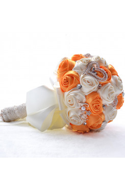 Orange and Ivory Artificial Flowers Rose for Bridesmaids holding flowers