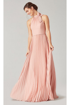 Pearl Pink Bridesmaids Pleated Dresses so-271