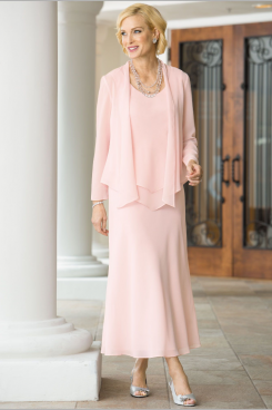 Pearl Pink chiffon Mother of the bride dresses Comfortable Summer beach Wedding outfit mps-156