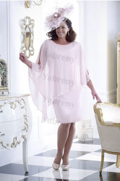 Pearl Pink Chiffon Plus size Mother of the bride dress withe Overlay top mps-337