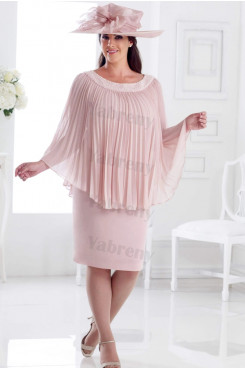 Pearl Pink Plus size Mother of the bride dress with Hand beading Neck mps-338