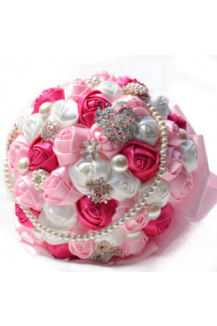 Pink ,ivory and Rose red Artificial wedding bouquets with beads and Glass Drill