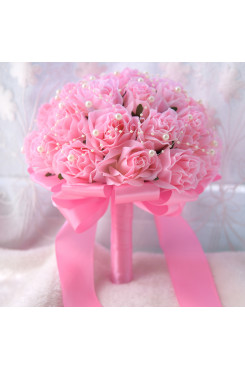 Pink Artificial Flowers Rose Wedding Bouquets with Pearls