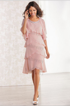 Pink Chiffon Layered women's dresses with jacket mps-326
