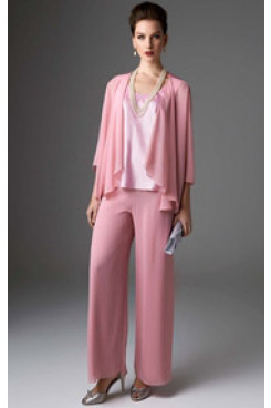 Pink chiffon women's outfits Lovely with jacket trouser suit mps-238