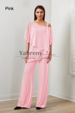 Pink Chiffon Women's Pant Suits,Hot Sale Mother Of The Bride Pant Suits, Abbigliamento femminile mps-579-21