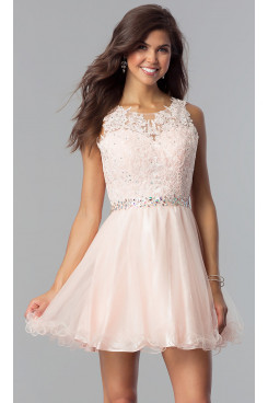 Pink Flare Homecoming Party Dress,Graduation Dresses with Glass Drill Belt sd-022-5