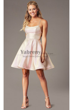 Pink Glitter A-Line Above Knee Party Dresses, Spaghetti Homecoming Dresses sd-025