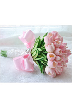 Pink Gorgeous Tulip bouquet for Bridesmaid holding flowers
