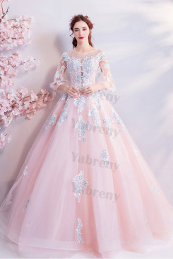Pink Half Sleeves Floor-Length Quinceanera Dresses A-line prom dresses TSJY-190