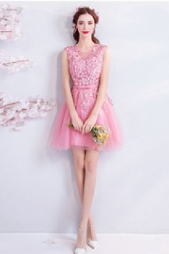 Pink Hand Beading Homecoming Dresses A-line Appliques prom dresses TSJY-062