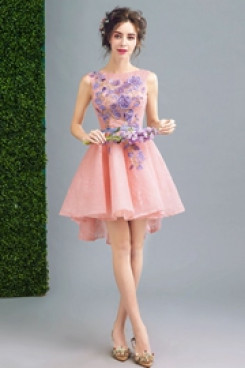 Pink Hand Beading Homecoming Dresses Front Short Long Back prom dresses TSJY-063