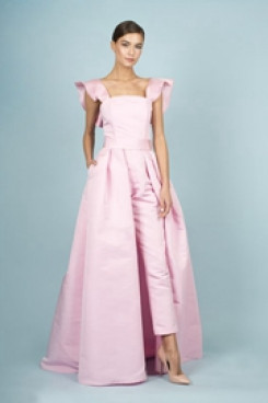 Pink Satin Bridal Jumpsuits Spring Wedding Pants Dress With Detachable Train so-132