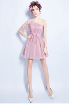 Pink Sexy Homecoming Dresses under $100 Above Knee prom dress TSJY-052