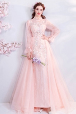 Pink Sleeve length Elegant Sweep Train Jewel Prom Dresses TSJY-114