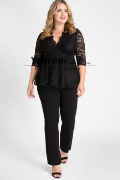 Plus Size Black Lace Women's outfit Mother of the bride pantsuit mps-492