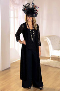 Plus Size black mother of the bride pantsuits With Lace Jacket mps-258