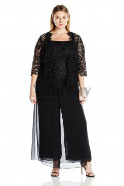 Plus size Black Three pieces Lace mother of the bride pant suit dresses mps-056