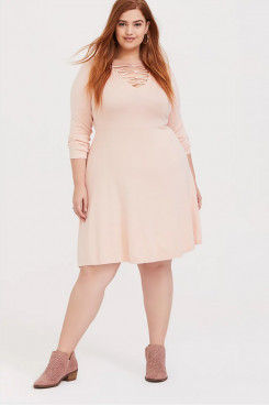 Plus Size Blushing Pink Women's Dresses, Elastic Knee-Length Mother Of The Bride Dresses mps-405