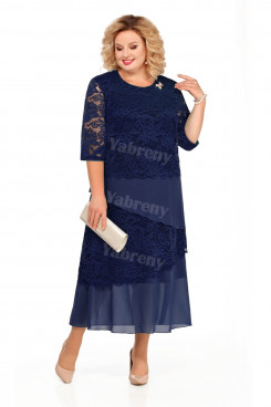 Plus Size Dark Navy Mid-Calf Mother Of The Bride Dresses With Half Sleeves mps-449-6