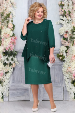 Plus Size Green Mother of the bride Dresses Mid-Calf Women's Dresses mps-453-4