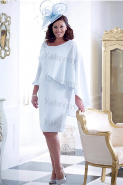 Plus size Knee-Length Jade Blue Mother of the bride dress with Cover mps-333
