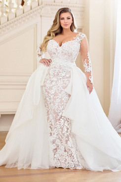 Plus Size Wedding dresses Lace up with detachable train Wd-036