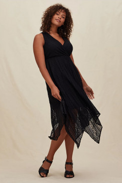 Plus Size Mid-Calf Women's Dresses,Black Lace Mother Of The Bride Dresses mps-407