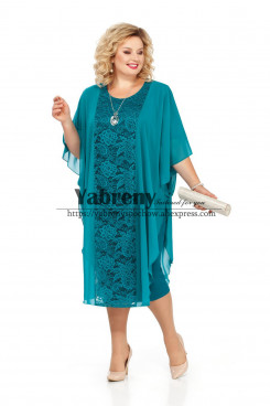 Plus size Mother of the bride Dress Jade Green Lace Loose Women's Dresses mps-500-2