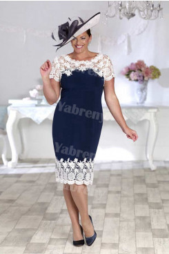 Plus size Mother of the bride dress Navy and white mps-358