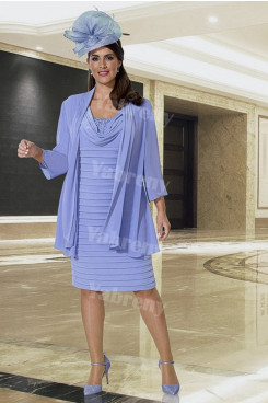 Plus size Mother of the bride dress with chiffon jacket Blue mps-361