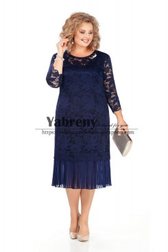 Plus size Mother of the bride Dresses Dark Navy Lace Women Dresses mps-495-2