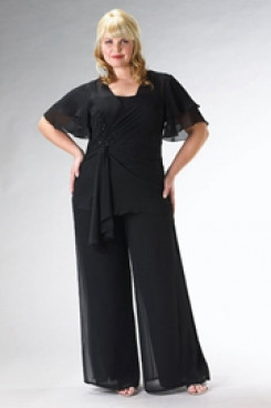 Plus Size mother of the bride pants sets black  Three Piece outfits mps-210